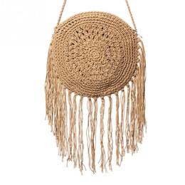 Wholesale Straw Ladies Handbags Australia - Woman Round Handbags Handmade Straw Bag With Tassel Rattan Woven Vintage Rope Knitted Messenger Bag Lady Summer Beach Tote(Kha