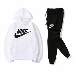 Flannel Hoodie UK - Fashion-Sportswear sportswear men's jogging suit Hoodie sweater spring and autumn leisure neutral brand sportswear suit