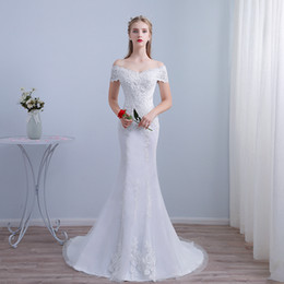 $enCountryForm.capitalKeyWord Australia - Modest Off The Shoulder Mermaid Wedding Dress with Short Sleeves Lace Appliqued Slim Bridal Gowns White Ivory