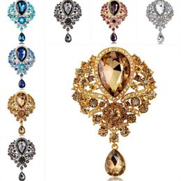 water drop brooches Australia - Rhinestone Crystal Brooches Crystal Flower Water Drop Brooch pins Corsage for women men Wedding jewelry gift Will and sandy 170262