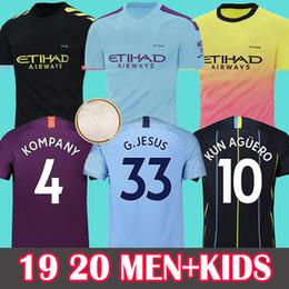 Football Shirts UK - MAHREZ 19 20 soccer jersey 2019 2020 city JESUS DE BRUYNE KUN AGUERO football shirt Camiseta MENDY WALKER SILVA MAN uniforms manchester kids