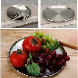 Wholesale Stainless Steel Dinner Dish Flat Plates Kitchen Tableware Dinnerware Restaurant Severing Tray Kitchen Tools HH9