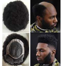 hair toupee wig UK - Men Hair System Wig Mens Hairpieces Afro Curl Front Lace with Mono NPU Toupee Jet Black Brazilian Virgin Human Hair Replacement for Men