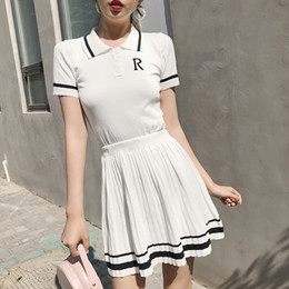 Strip Skirt Australia - Summer Preppy Style Retro Knitted Tennis Embroidery Strip Polo Shirt & A-line Mini Pleated Skirt Suit Girls Sweet 2pcs Set Q190529