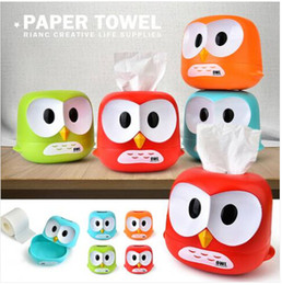 Blue Napkin Holders NZ - Sales!!! Free shipping Wholesales 2019 Lovely Owl Tissue Box Toilet Paper Cover Case Napkin Holder Home Car Decor