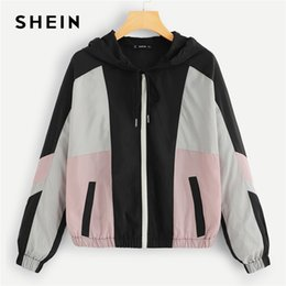 Discount patchwork women coat - SHEIN Multicolor Casual Color Block Oversized Zipper Up Hoodie Jacket 2018 Autumn Preppy Women Coat And Outerwear