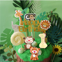 $enCountryForm.capitalKeyWord Australia - Wild Animals Theme Cake Toppers Giraffe Monkey Tiger Cake Decoration Baby Shower Wedding Birthday Party Supplies Free Shipping