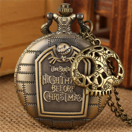 timepiece clocks Australia - Steampunk Bronze Skull Accessory the Nightmare Before Christmas Quartz Pocket Watch for Men Women Necklace Chain Timepiece Clock Best Gift