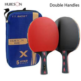 Großhandel 2 stücke Verbesserte 5 Sterne Carbon Tischtennisschläger Set Leichte Leistungsstarke Ping Pong Paddle Bat mit Guter Kontrolle C18112001