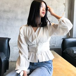 types blouses 2019 - LANMREM 2019 New Fashion Spring V Collar Puff Long Sleeve White Short Type Slim Waist Women's Shirt Sweet Blouse Ve