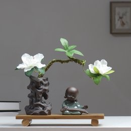$enCountryForm.capitalKeyWord NZ - Little Buddhist Zen Decoration Postmodern Study Figurines Retro Frame Rockery Ornament New Chinese-style Vase Bamboo Crafts