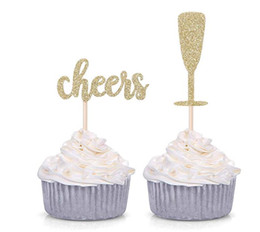 Engagement Party Cupcake Toppers Australia - 50pcs Gold Glitter Cheers and Champagne Glasses Cupcake Toppers for Baby Shower Wedding Engagement Celerating Party Decorations