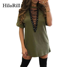 Sexy Army Shirts Australia - Hilorill Summer T Shirt Women Casual Short Sleeve T-shirt Sexy Deep V Neck Lace Up Bandage Tops Tee Shirt Femme Poleras Mujer Y190123