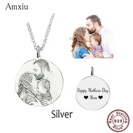 $enCountryForm.capitalKeyWord Australia - Amxiu Customized Family Lovers Picture Pendant Personalized 925 Sterling Silver Necklace Engrave Name Photo Necklace Jewelry J190616