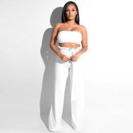 Discount two piece overalls - Sexy Party Bandage Jumpsuits For Women 2019 Summer Strapless Sashes Female Overalls Casual Two Piece Set Beach Bodycon R