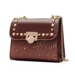Silver Sequin Shoulder Bag NZ - good quality Brand Designer Shoulder Bags Fashion Sequins Women Messenger Bags Chain Rivet Crossbody Women Evening Bag Handbags