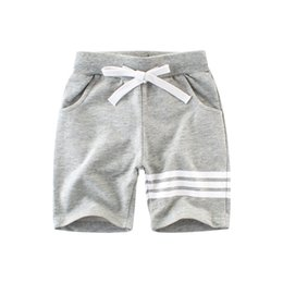 Chinese  Children Casual Sports Shorts Striped Boys clothes 100%Cotton Terry String waist Five pants Grey Navy Summer Cheap Wholesale manufacturers