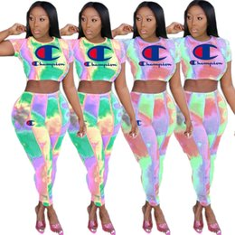 $enCountryForm.capitalKeyWord NZ - Women champions sport suit Short Sleeve top + Pants Summer Tracksuit Brand Outfits 2 Piece Sportswear Sports suit Yoga printing Suits 606