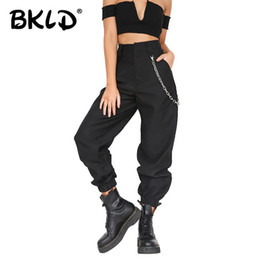 pant chains NZ - BKLD Summer 2019 Female High Waist Harem Pants Women Fashion Slim Solid Color Long Pants Hip Hop Pant Streetwear With Chains T190613