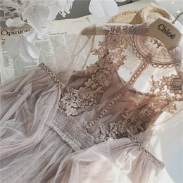 fairy style dresses NZ - 2018 New Women Fashion Dress Stand Collar Lantern Sleeve Mesh Dress See-through Lace Embroidery Fairy Dress Femme Vestidos Robe Y190427