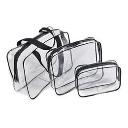 Piece Cosmetic Bag Wholesale Australia - 2019 New 3-pieces Set Bag Travel Transparent Clear PVC Makeup Cosmetic Toiletry Zipped Bags BS88