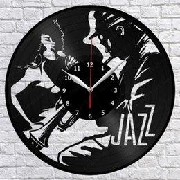 Джазовая музыка Виниловые пластинки для настенных часов Fan Art Home Decor Vintage Wall Art Лучшие подарки для мужчин (размер: 12 дюймов Цвет: черный) на Распродаже