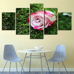 $enCountryForm.capitalKeyWord NZ - Home Decor HD Print Canvas Poster Framework 5 Pieces Pink Rose Green Grass Painting Modular Flower Pictures Living Room Wall Art