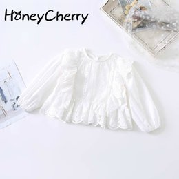 girls white lace blouses Canada - Spring Girls Blouse Girls' Fashionable Loose And Hollow Embroidered Hood With Children's Long Sleeve Lace Edge Shirt Y200704