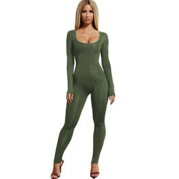 743ce1fdde5b Women Spring Black White Army Green Bodycon Jumpsuits Long Sleeve Casual O-Neck  Slim Rompers 2019 New Femme Sexy Skinny Jumpsuit