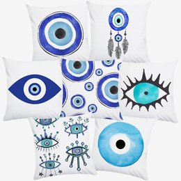 hand painted painting oil green NZ - Evil Eye Cushion Covers Hasma Hand Watercolor Oil Painting Polyester Throw Pillow Case 45X45cm Pillow Cover Sofa Decoration