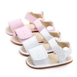 Beautiful Infants NZ - Beautiful Spring Summer Baby Girl Shoes Infant Canvas Bow-knot Kids Beach Baby Walking Shoes First Walkers