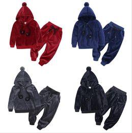 $enCountryForm.capitalKeyWord Australia - Boys Girls Clothes 2pcs Warm Gold velvet Outfits Autumn Winter Children Clothing Sets 1-6 Y Kids Clothes Costume