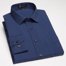Plain Collar Shirts Australia - New 2019 High Quality Cotton And Linen Comfortable Long Sleeve Turn Down Collar Solid Plain Business Men Dress Shirts 6colors
