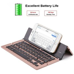 bluetooth keyboard for android phone NZ - Aluminum Alloy Magnetic Triple Folding Wireless Bluetooth Keyboard Support For  Android Phone Tablet PC Typing