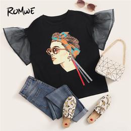 $enCountryForm.capitalKeyWord Australia - Romwe Mesh Sleeve Figure With Ribbon Detail Tee Young Black Summer Flounce Sleeve T-shirt 2019 Basic Short Sleeve Women Top SH190628