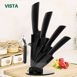 "Kitchen Cloth Set Australia - Ceramic Knives Kitchen Knives Accessories Set 3 ""Paring 4 ""Utility 5 ""Slicing 6 ""Chef Knife +Holder +Peeler Black Blade"