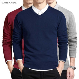 hand crochet cotton Australia - Cotton Sweater Men Long Sleeve Pullovers Outwear Man V-Neck sweaters Tops Loose Solid Fit Knitting Clothing 8Colors New