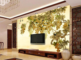 Autumn wAllpApers online shopping - Custom Wallpaper D Stereoscopic Original Golden Autumn Rich Grapes Art Wall Mural Living Room Bedroom Wallpaper