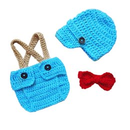 $enCountryForm.capitalKeyWord NZ - Little Man Suit,Handmade Crochet Baby Boy Blue Gentleman Hat,Diaper Cover with Suspenders and Bow Tie Outfits,Infant Newsboy Photo Prop