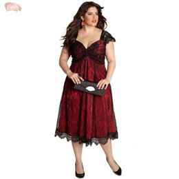 Plus size clubbing clothing online shopping - 4Xl Plus Size Dress Sweetheart V Neck Cap Sleeve Floral Lace Dress Midi Calf Sexy Club Party Dress Designer Clothes