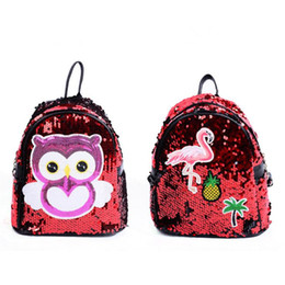 $enCountryForm.capitalKeyWord UK - 2019 Women Sequins Backpack Cute Flamingos Schoolbag For Teenage Student Girls Satchel Female Cartoon Owl Packpack School Bag Free shipping