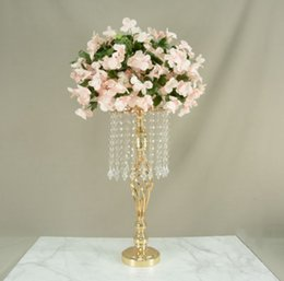 wholesale large bowls UK - New style Gold Wedding table Tall Crystal Candelabra with tall and large flower bowl tube best01084