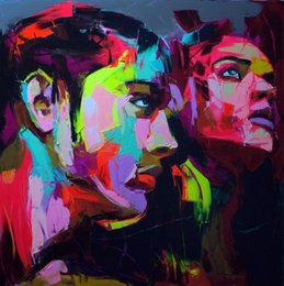 painting faces NZ - Hand painted Palette knife painting portrait Palette knife Francoise Nielly Face Abstract Oil painting Impasto figure on canvas Decor FN69