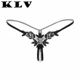 $enCountryForm.capitalKeyWord Australia - KLV Women lingerie sexy hot erotic Lady Embroidery G-string pearl V-string Panties Knickers Lingerie Underwear interior mujer