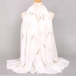$enCountryForm.capitalKeyWord NZ - Women Fashion Plain Embroider Gold Feather Viscose Shawl Scarf Girls Luxury Design Stitch Echarpe Foulards Femme Muslim Hijab