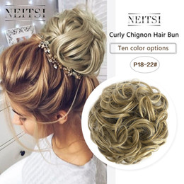 Hairpiece For Ponytail Australia - Neitsi Women Curly Chignon Hair Bun for Brides Synthetic High Extensions Ponytail Hair Bundles Hairpieces Buns P18-22