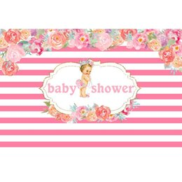 China 7x5ft Pink Floral Stripes Tutu Girl Baby Shower Party Custom Photo Studio Background Backdrop Vinyl Banner 220cm x 150cm supplier banner backdrop suppliers