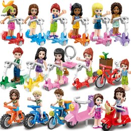 girl friends blocks Australia - Princess Girls Friends Doll Cycling Scooter Team Figures Series Building Blocks Girl Toys For Children Gift CX200706