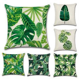 Wholesale Cotton Linen Cushion Cover Nordic Tropical Plants Cactus Monstera Print Home Office Sofa Square Pillow Case Pillowcases styles