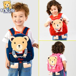 korean style men school bags 2019 - Korean-Style Children's School Bag Bear Anti Lost Rope School Bag Cartoon Cute Animal Backpack Kindergarten Early C
